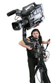 Dv-camcorder on crane — Stock Photo