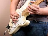 Guitarist in studio — Stock Photo
