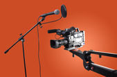 Camcorder and microphone — Stock Photo