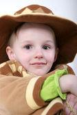 Happy girl in brown hat — Stock Photo