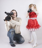 Double video shooting — Stock Photo