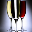 Glasses of wine on glass beads stand — Stock Photo