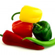 Green red and yellow fresh peppers — Stock Photo