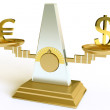 Dollar and euro on scales — Stock Photo