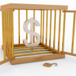 Royalty-Free Stock Photo: Dollar in the cage