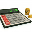 Calculator and a stack of coins - Stock Photo