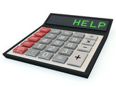 Calculator with help text on the display — Stock Photo