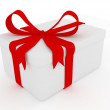 White gift box with red ribbon - Stok fotoğraf