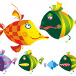 Set of colored funny fishes. — Stockvektor