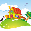 Vector de stock : Rural landscape with farm animals