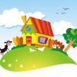Rural landscape with farm animals — Stock Vector