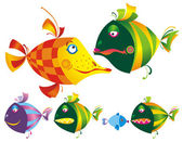 Set of colored funny fishes. — Stock Vector