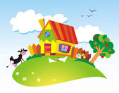 Paisaje rural con animales de granja — Vector de stock