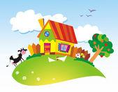 Rurale landschap met boerderijdieren — Stockvector