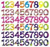 Number set with abstract patterns. — Stock Vector