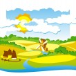 Vector de stock : Rural view with windmill