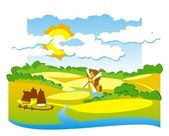 Rural weergave met molen — Stockvector