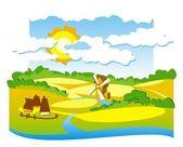 Yel değirmeni ile kırsal görünümü — Stok Vektör