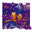 Night background with owls - Stock Vector