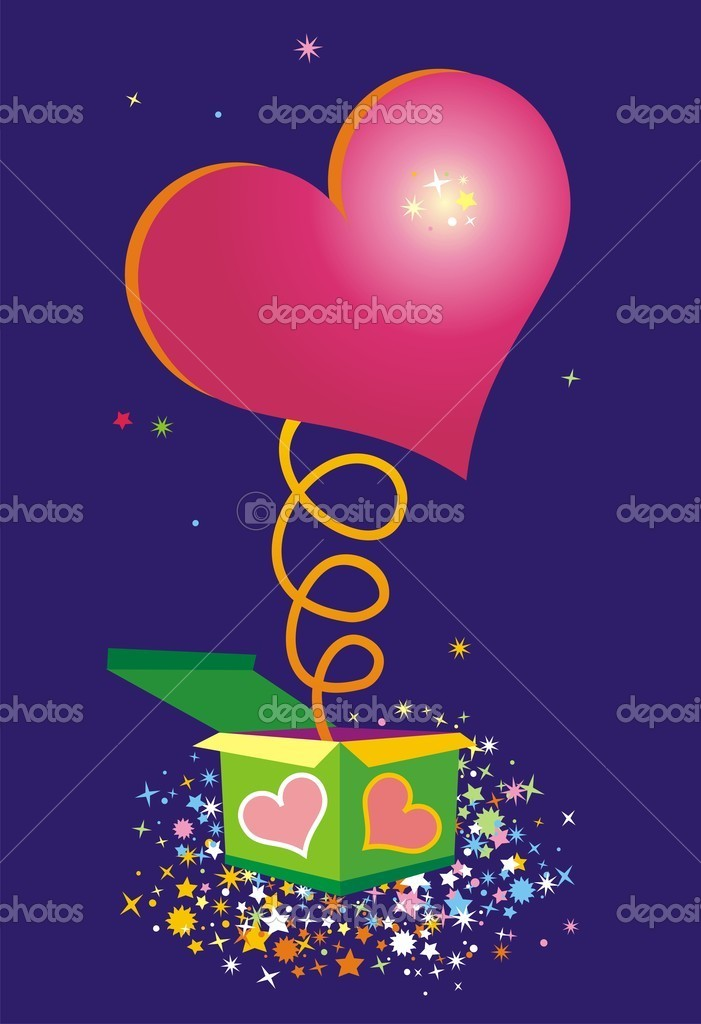 Vector illustration of heart jumping from box  Stock Vector #1767009