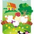 Vector de stock : Rural landscape with farm animals.