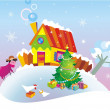 Christmas background with country house. — Imagen vectorial