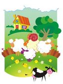 çiftlik hayvanları ile kırsal manzara — Stok Vektör