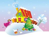Christmas background with country house. — Vector de stock