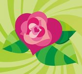 Stylized vector background with rose — Vecteur