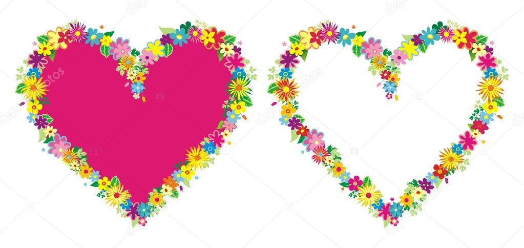 two heart shaped frame with flowers stock vector 1814559