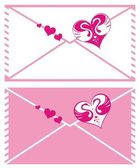 Valentine set with hearts and envelopes — Stock Vector