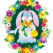 Vector hare with flowers — Stockvectorbeeld