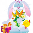 Vector hare with flowers — Image vectorielle