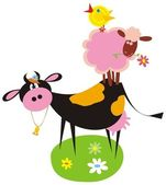 Animales funny farm — Vector de stock