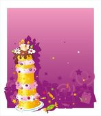 Birthday background with cake — Vector de stock