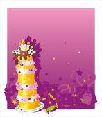 Verjaardag achtergrond met cake — Stockvector