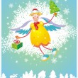Christmas card with angel — Stock vektor