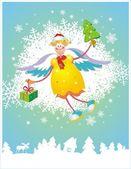 рождественская открытка с ангелом — Cтоковый вектор