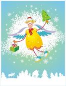 Tarjeta de navidad con ángel — Vector de stock
