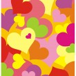Stock Vector: Color background with hearts