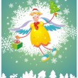 Christmas card with angel — Imagen vectorial