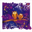 Vector night background with owls — Stockvectorbeeld