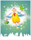 Christmas card with angel — Vector de stock