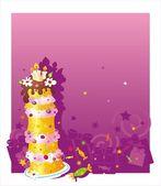 Fondo de cumpleaños con torta — Vector de stock