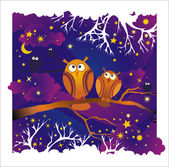 Vector night background with owls — Stok Vektör