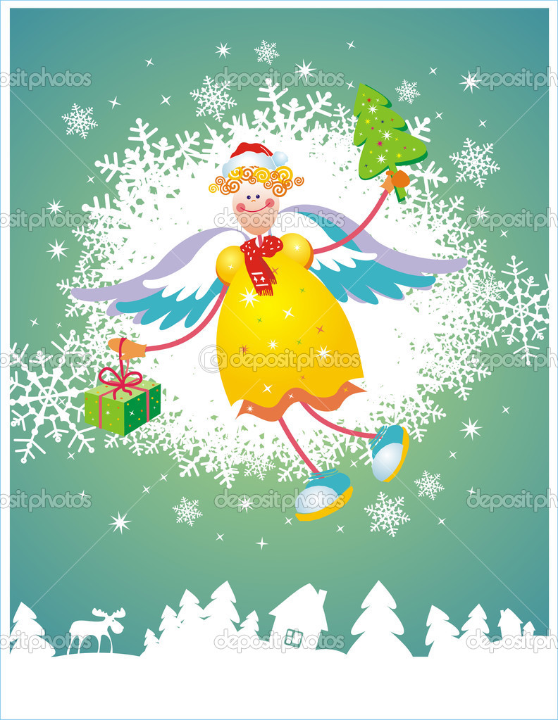Computer generated christmas card with angel. Vector illustration  Stock Vector #2024912