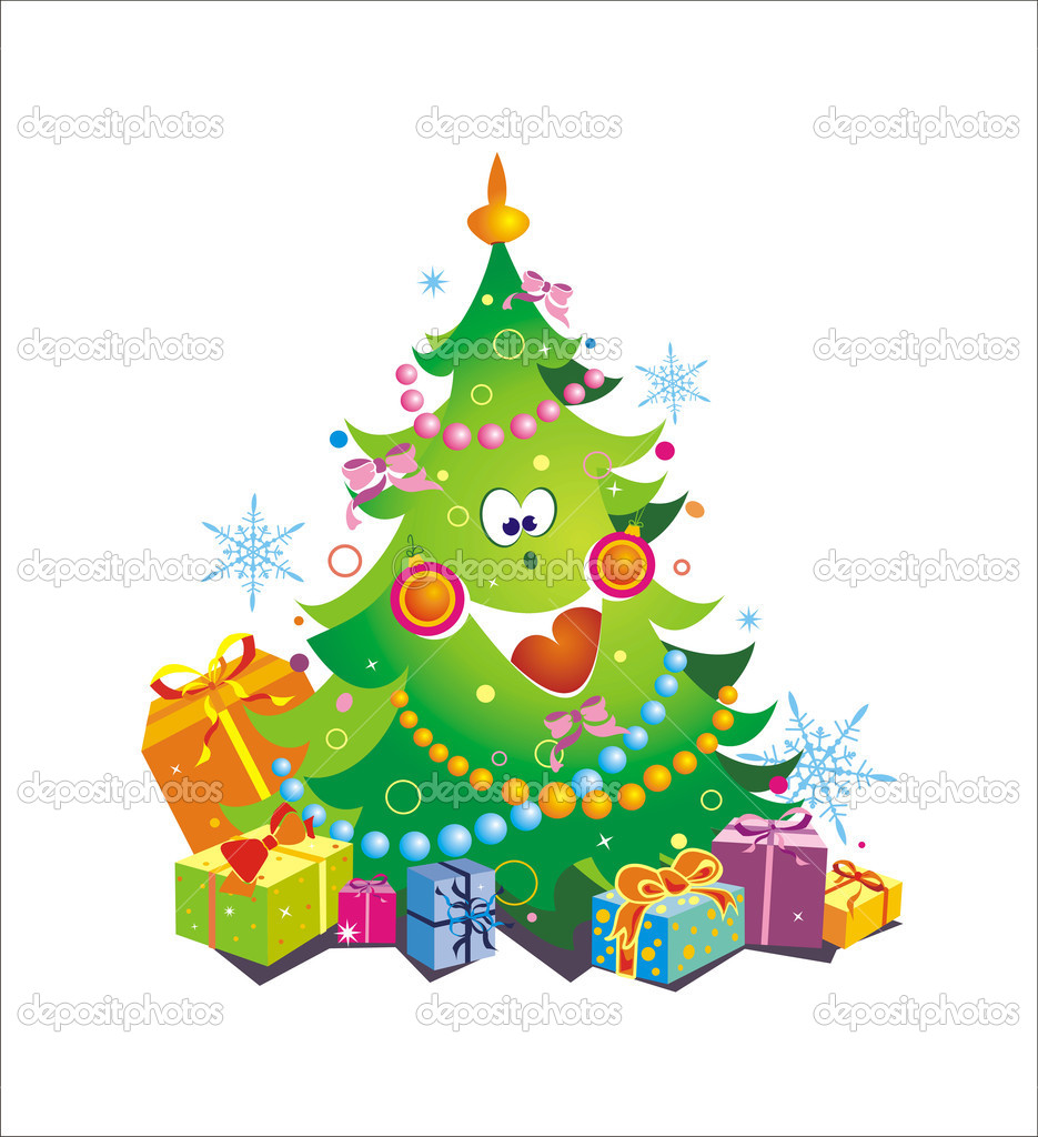 Computer generated illustration of christmas tree — Imagen vectorial #2025111