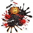Halloween background with pumpkin, blots - Stock Vector