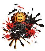 Fond de halloween avec citrouille, taches — Vecteur