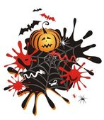 Fondo halloween con calabaza, las manchas blancas /negras — Vector de stock